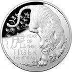 Lunar Tiger 1 Unze Silber Dome Shaped
