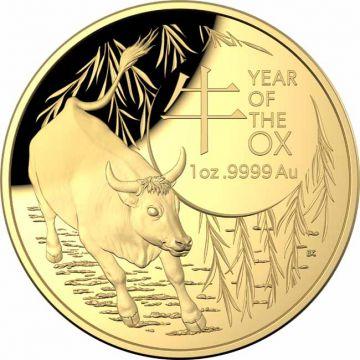 Lunar Ochse 1 Unze Gold gewölbt - jetzt reduziert!