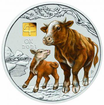 Lunar Ochse 1 Kilo Silber mit Gold Privy Mark