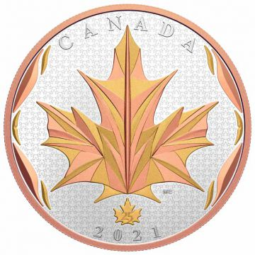 Maple Leaf 5 Unzen Silber mit Gelb- und Rosé-Gold Veredelung