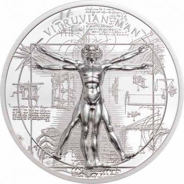 Der Vitruvianische Mensch - Röntgen 1 Unze Silber Ultra High Relief