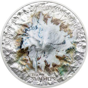 7 Gipfel: Elbrus 5 Unzen Silber Ultra High-Relief
