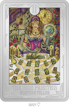Tarot: Die Hohe Priesterin 1 Unze Silber Rechteck-Münze