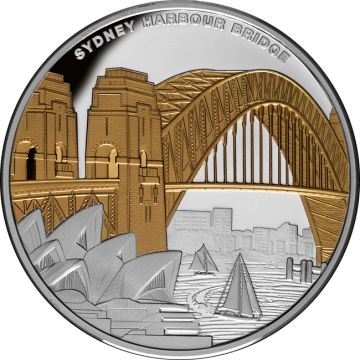 Sydney Harbour Brücke 1 Unze Silber - Vergoldet