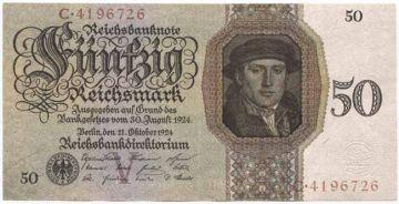 50 Reichsmark 1924 (Kaufmann Born nach Holbein)