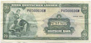 20 Deutsche Mark 1949 (Allegorische Darstellung)