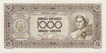 1000 Dinara 1946 (Landarbeiterin)