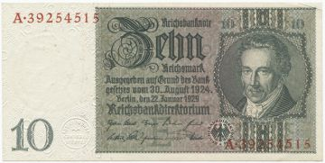 10 Reichsmark 1929 (v. Thaer)