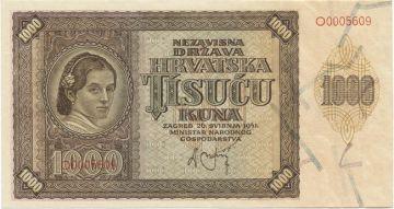 1000 Kuna 1941 (Frauenportrait)