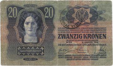 20 Coroane 1919 (Überdruckprovisorium)