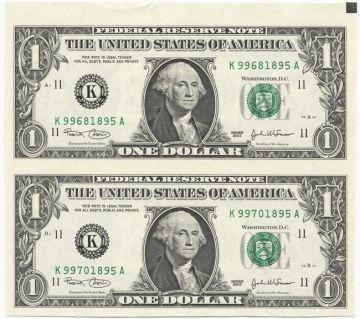 2 x 1 Dollar 2003 (Washington) Bogenstück