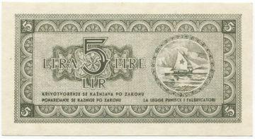 5 Lira 1945 (Segelboot mit Stern)
