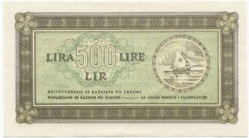 500 Lira 1945 (Segelboot mit Stern)