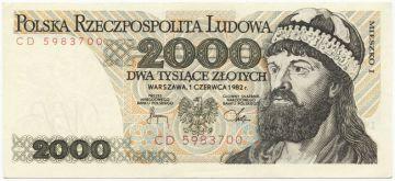 2000 Zlotych 1982 (Herzog Mieszko I)