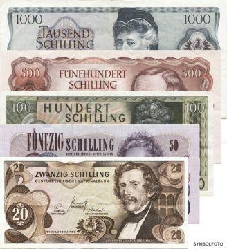 1670 Schilling (Set aus 5 Werten -gebraucht-)