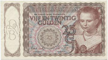 25 Gulden 1943 (Mädchenportrait nach Moreelse)