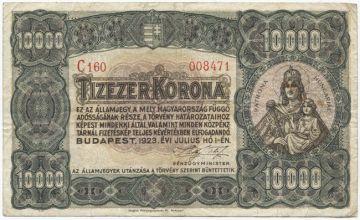 10000 Korona 1923 (Patrona Hungariae)