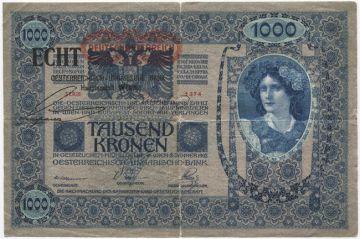 1000 Kronen 1919 (Provisorium mit einfachem Echtheitsstempel)
