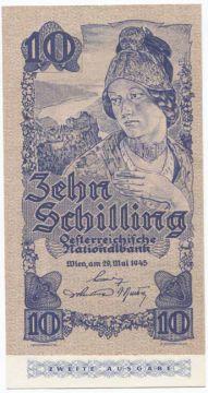 10 Schilling 1945 (Wachauerin) II. Auflage