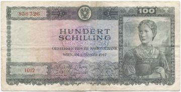 100 Schilling 1947 (Frau im Trachtenkleid)