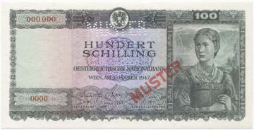 100 Schilling 1947 (Frau im Trachtenkleid) -MUSTER-