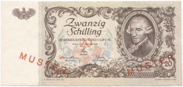 20 Schilling 1950 (Haydn) mit Plattenfehler -MUSTER-