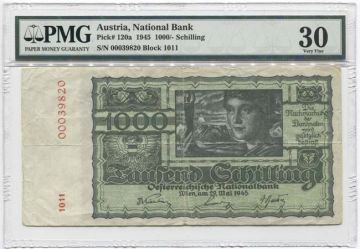 1000 Schilling 1945 (Frau mit Athenafigur) I. Auflage; dünnes Papier