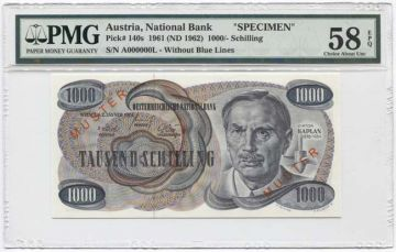 1000 Schilling 1961 (Kaplan, klein) ``MUSTER´´