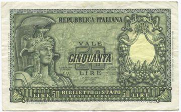 50 Lire 1951 (Italia mit Helm)