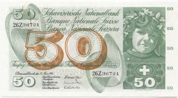 50 Franken 1968 (Mädchenportrait)