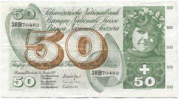 50 Franken 1972 (Mädchenportrait)