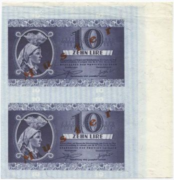 2 x 10 Lire 1944 Bogenstück