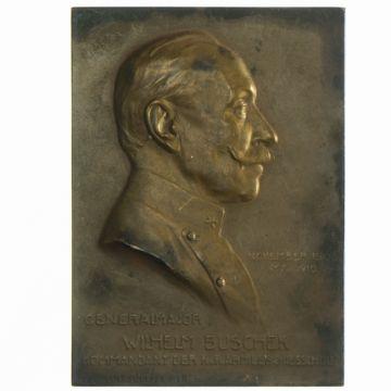 einseitige AE Plakette 1910 Generalmajor Wilhelm Buschek
