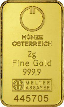Münze Österreich Goldbarren 2 g
