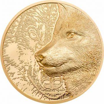Mystischer Wolf 1 Unze Gold Ultra High Relief