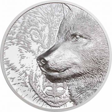 Mystischer Wolf 1 Unze Silber Ultra High Relief
