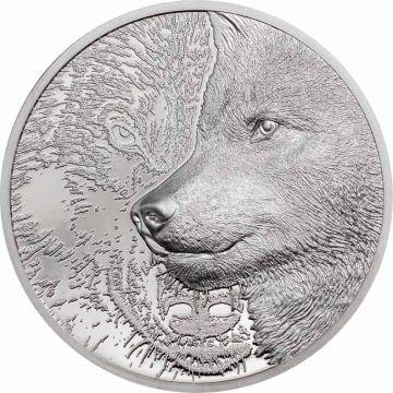 Mystischer Wolf 1 Unze Platin Ultra High Relief