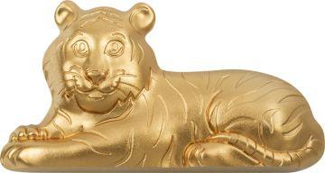 Vergoldeter Charmanter Tiger 1 Unze Silber Ultra High Relief