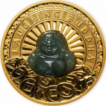 Lachender Buddha 1 Unze Goldmünze mit Jade
