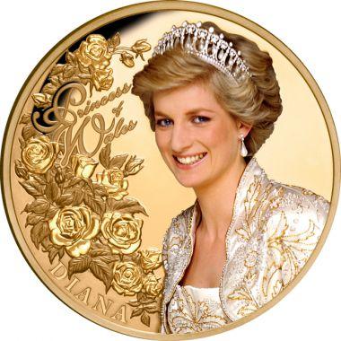 Diana, Prinzessin von Wales 1 Unze Gold mit Teilbefärbung