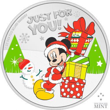 Disney Weihnachtsgrüße 1 Unze Silber
